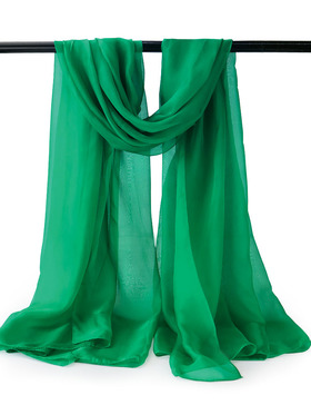 EGO ECHO Womens Long Silk Oblong Scarf - Solid Silk Scarf Scarves Wraps (Green)