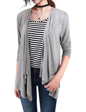 EGO ECHO Modal Lightweight Cardigans for Women - Draped Sweaters (GREY, S)