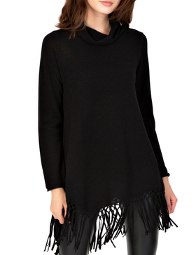 Li & Zi Fringe Sweaters for Women - Pullover Tops Tassel Sweater (Black, S)