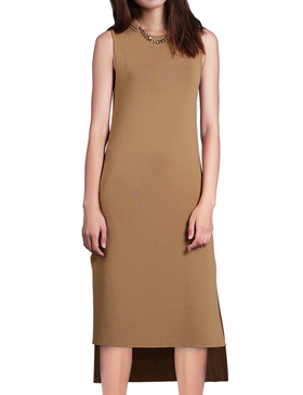 Li & Zi Sleeveless Sweater Midi Dress - Winter Dresses for Women (Apricot, XS)