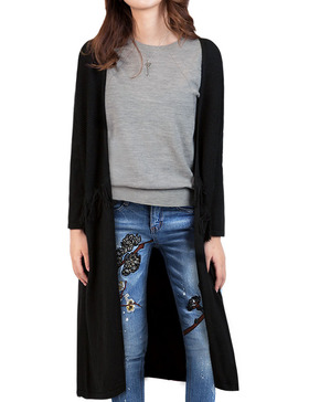 DELUXSEY Wool Blend Open Cardigan Sweaters for Women Tassel Cardigan (BLACK, S)