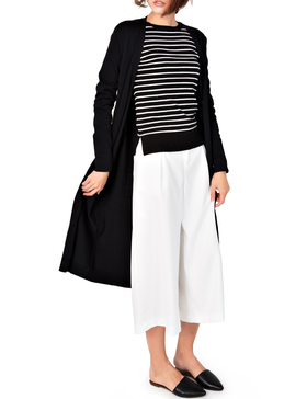 Li&Zi Womens Long Sleeve Open Front Long Maxi Cardigan (Black, S)