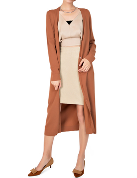 Li&Zi Womens Long Sleeve Open Front Long Maxi Cardigan (Brown, S)