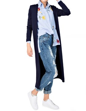 Li&Zi Womens Long Sleeve Open Front Long Maxi Cardigan (Navy, S)