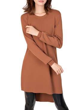 Li & Zi Long Sleeve High Low Sweaters for Women - Pullover Tunic (Brown, M)