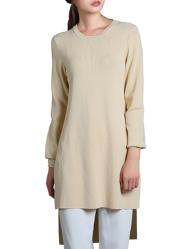 Li & Zi Long Sleeve High Low Sweaters for Women - Pullover Tunic (Apricot, S)