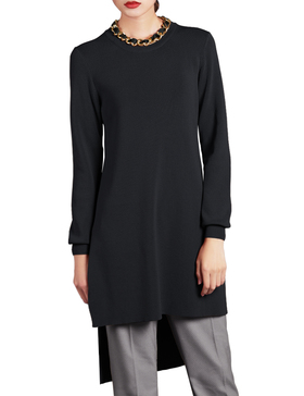 Li & Zi Long Sleeve High Low Sweaters for Women - Pullover Tunic (Black, S)