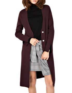 Li & Zi V Neck Longline Cardigan Sweaters for Women - Cardigan Button (WINE, S)
