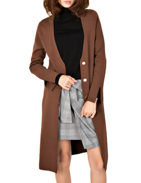 Li & Zi V Neck Longline Cardigan Sweaters for Women - Cardigan Button (BROWN, S)