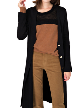 Li & Zi V Neck Longline Cardigan Sweaters for Women - Cardigan Button (BLACK, S)