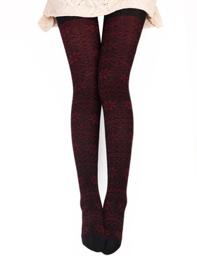 DELUXSEY Womens Snowflake Knitted Patterned Tights Opaque Tights (Red + Black)