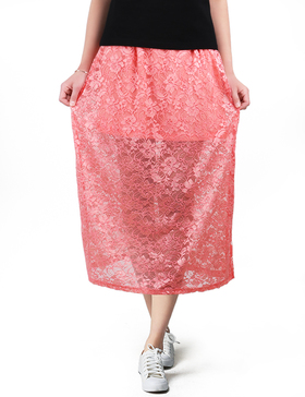 LUOTILIA Long Skirts Work Skirts for Women Office High Waisted Skirts (PINK, S)