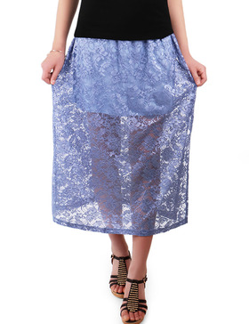 LUOTILIA Formal Skirts for Women Evening - See Through Skirt (PERIWINKLE, S)