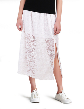LUOTILIA Lace Maxi Skirt Elegant Skirts for Women Wear to Work Skirts (WHITE, S)