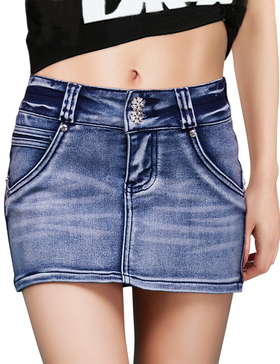 DELUXSEY Denim Skirt Women Short - Summer Skirts for Women Casual (Blue, XS)