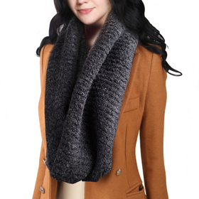 DELUXSEY Womens Wool Blend Infinity Scarf (Charcoal Grey Mix)