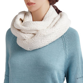 DELUXSEY Womens Oversized Infinity Scarf (Cream White)