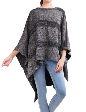 DELUXSEY Striped Knit Ponchos for Women (Charcoal Grey, S-M)